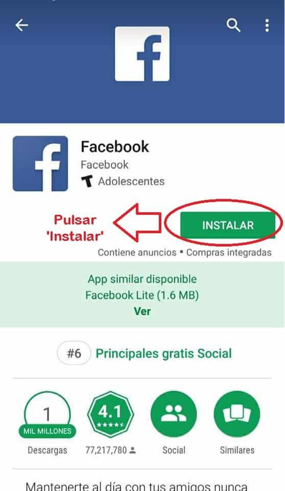 Español iniciar sesion en Facebook lite
