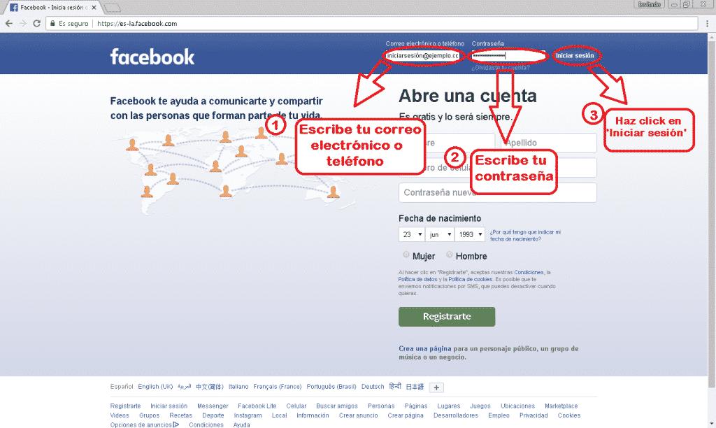 Sesion español en lite Facebook iniciar